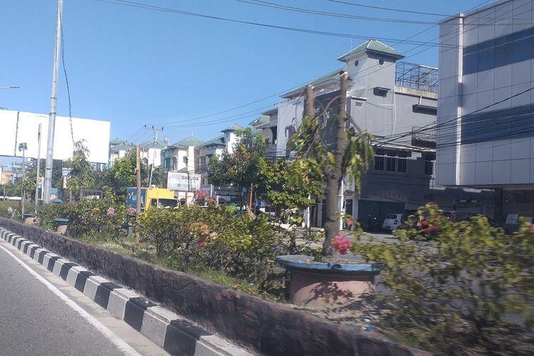 Puluhan pohon jenis Glodokan Tiang dan Tabebuya yang ditebang empat orang tersangka di median Jalan Tuanku Tambusai, Kecamatan Marpoyan Damai, Kota Pekanbaru, Riau, karena dianggap menutup usaha papan reklame, Jumat (23/10/2020).
