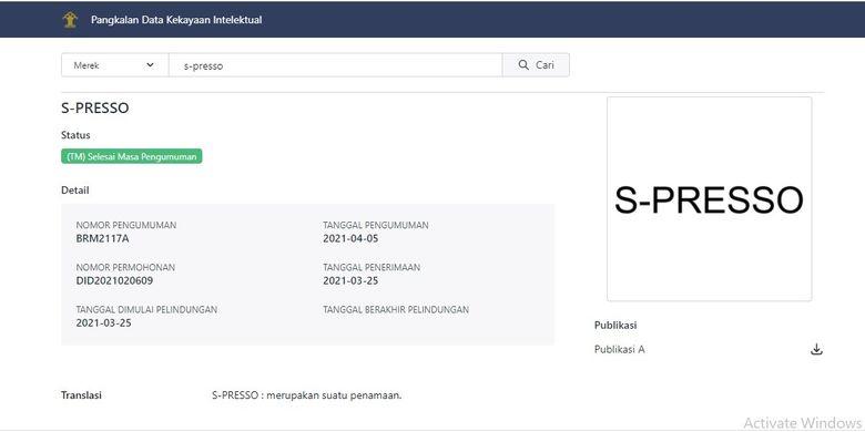 Penamaan <a href='https://kupang.tribunnews.com/tag/suzuki-s-presso' title='SuzukiS-Presso'>SuzukiS-Presso</a> telah terdaftar di Kemenkumham RI
