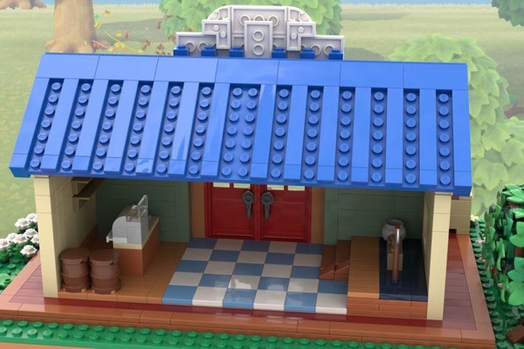 Tampilan interior replika Nooks Cranny yang dirancang dari 1.000 komponen Lego