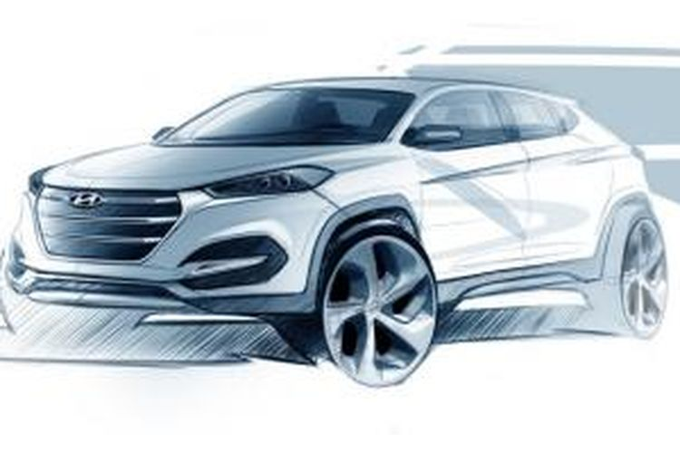 Hyundai All-New Tucson dalam sketsa.
