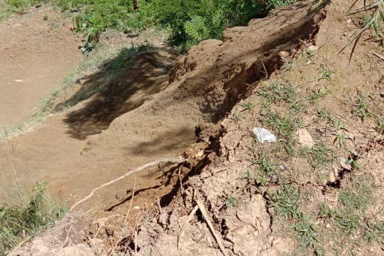 Lokasi tanah longsor yang menewaskan seorang warga Tolikara, Taner Wenda (54 tahun), Papua, Jumat (22/1/2021)