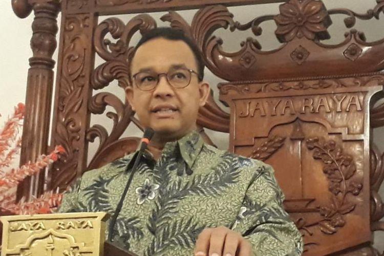 Gubernur DKI Jakarta Anies Baswedan di Balai Kota DKI Jakarta, Jalan Medan Merdeka Selatan, Minggu (21/10/2018).