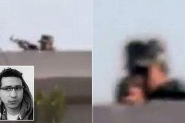 Foto ini diambil dari rekaman kamera video milik wartawan Mesir Ahmed Samir Assem (26), yang merekam detik-detik seorang prajurit Mesir membidikkan senapan ke arah dirinya. Inset: Ahmed Samir Assem.