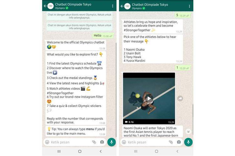 Tangkapan layar percakapan dengan chatbot Whatsapp Olimpiade Tokyo 2020