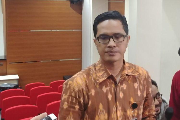 Juru Bicara KPK Febri Diansyah di Gedung KPK, Jakarta, Senin (13/11/2017).