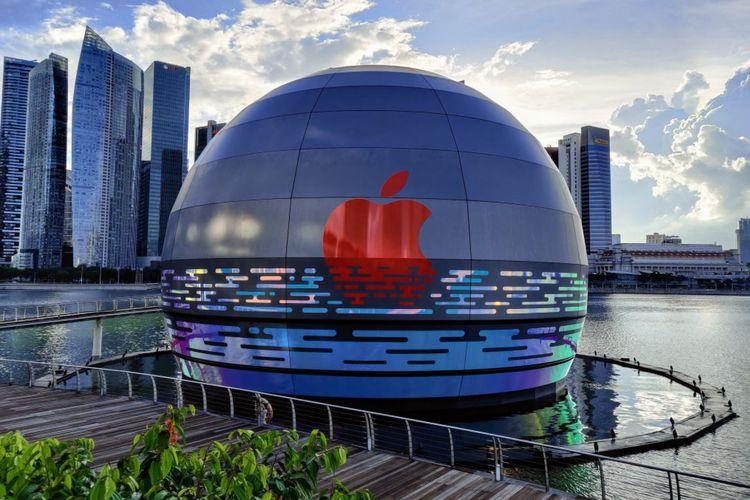 Desain eksterior Apple Marina Bay Sands.