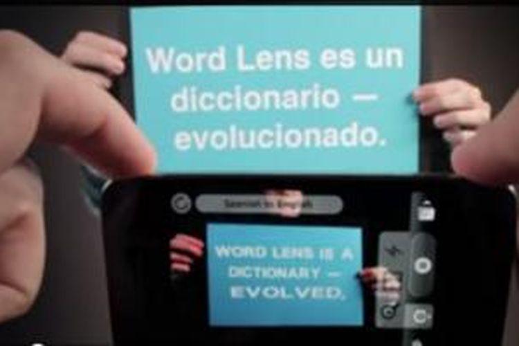 PPotongan video demonstrasi kemampuan World Lens dari Quest Visual
