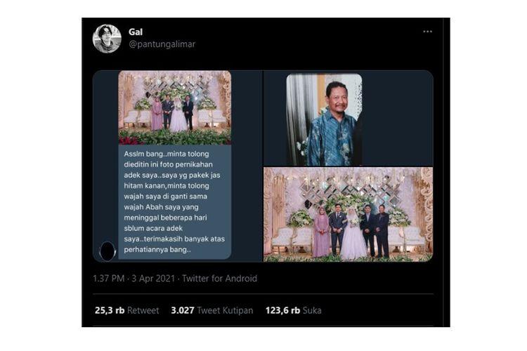 Viral foto editan foto warganet berisi salah satu anggota keluarga yang meninggal dunia