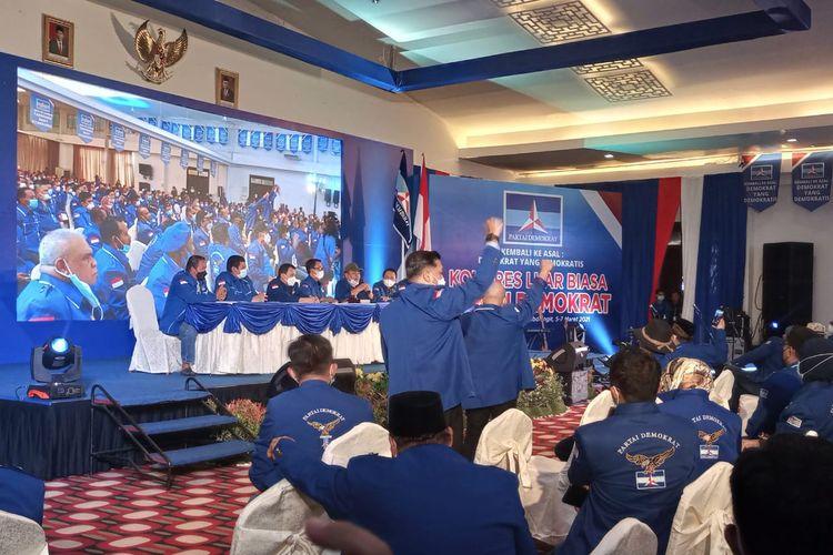 Kongres Luar Biasa (KLB) Partai Demokrat di Sibolangit, Deliserdang, Sumatera Utara, Jumat (5/3/2021).