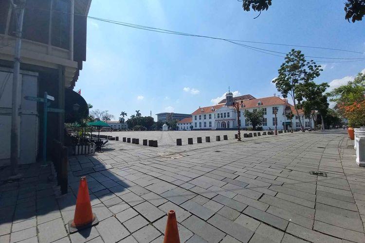 Kawasan Kota Tua, Taman Sari, Jakarta Barat steril dari pengunjung pada Sabtu (18/9/2021).