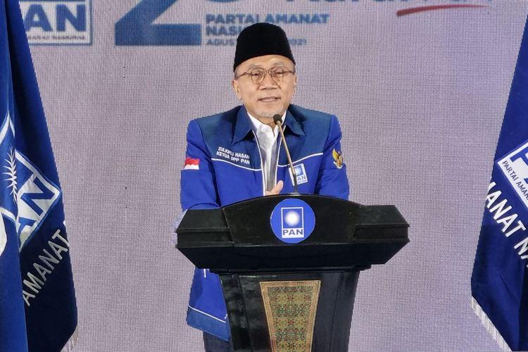 Ketua Umum Partai Amanat Nasional Zulkifli Hasan berpidato dalam acara HUT ke-23 PAN di Kantor DPP PAN, Jakarta, Senin (23/8/2021).