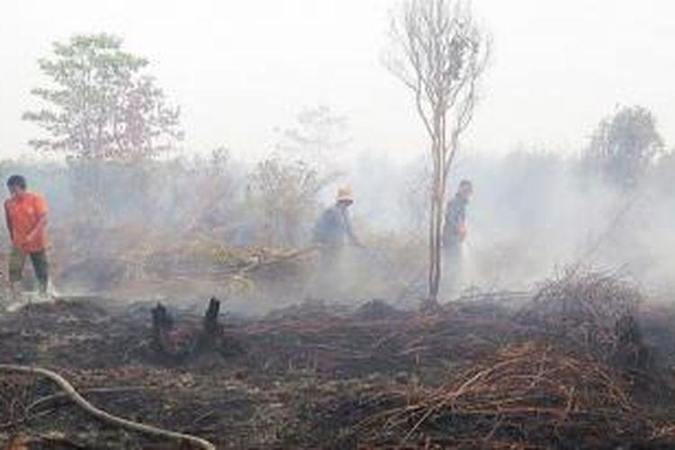 Tim dari Balai Konservasi Sumber Daya Alam Jambi memadamkan api di perkebunan sawit Kelompok Tani Seiyo Sekato di Desa Gambut Jaya, Kecamatan Sungai Gelam, Kabupaten Muaro Jambi, Rabu (8/7). Kebakaran di kawasan ini belum dapat dikendalikan sejak api muncul pada awal Juli dari hutan negara di sekitar kebun. Kebakaran telah meluas menjadi sekitar 160 hektar.