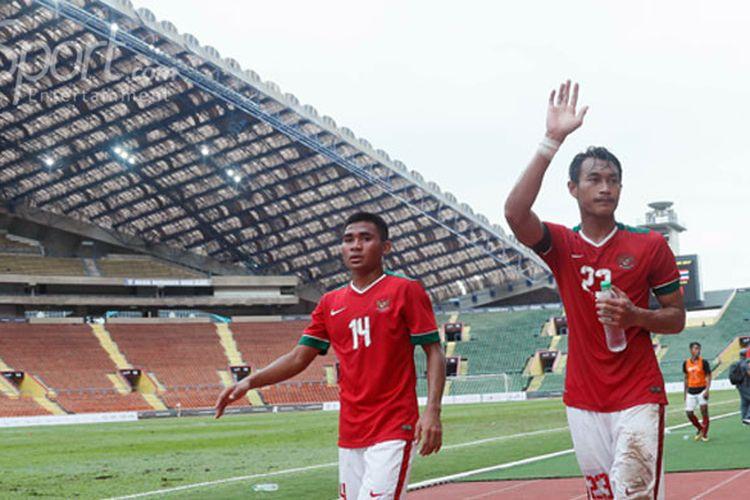 Timnas U-22 melawan Timnas Thailand U-22 dalam penyisihan grup B SEA Games XXIX Kuala Lumpur 2017 di Stadion Shah Alam, Selangor, Malaysia, Selasa (15/8). Pertandingan tersebut berakhir imbang 1-1.