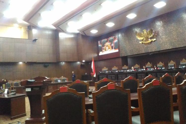 Suasana saat sidang pemeriksaan pendahuluan di MK, Jakarta Pusat, Rabu (30/10/2019).