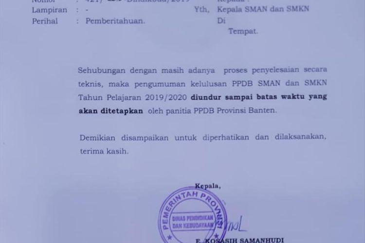 Pengumuman Hasil Ppdb Sma Dan Smk Di Provinsi Banten Ditunda