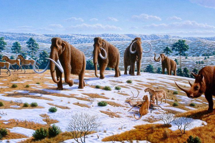 Ilustrasi kehidupan pada Zaman Neozoikum atau Kainozoikum