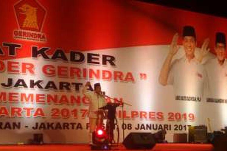 Ketua Umum Partai Gerindra Prabowo Subianto saat memberikan pengarahan kepada kader Gerindra di JIExpo, Jakarta Pusat, Minggu (8/1/2017)