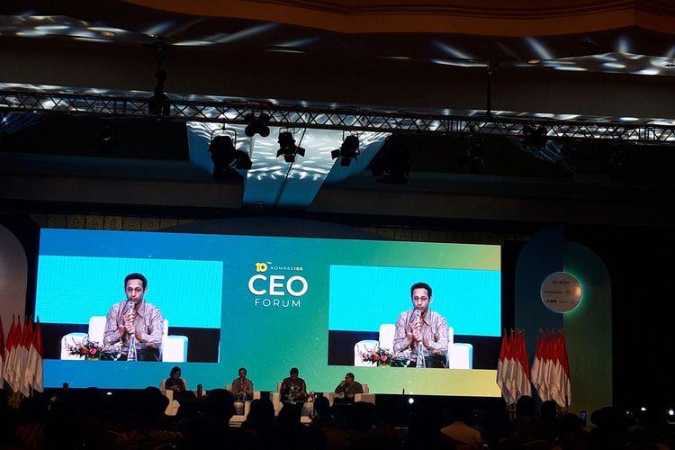 Menteri Pendidikan dan Kebudayaan Nadiem Makarim ketika memberi paparan dalam KOMPAS100 CEO Forum di Jakarta, Kamis (28/11/2019).
