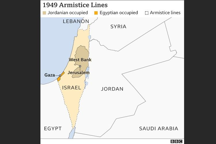 Garis gencatan senjata Israel 1949. Batas itu kemudian dikenal sebagai Jalur Gaza (diduduki oleh Mesir) dan Yerusalem Timur dan Tepi Barat (diduduki oleh Yordania).