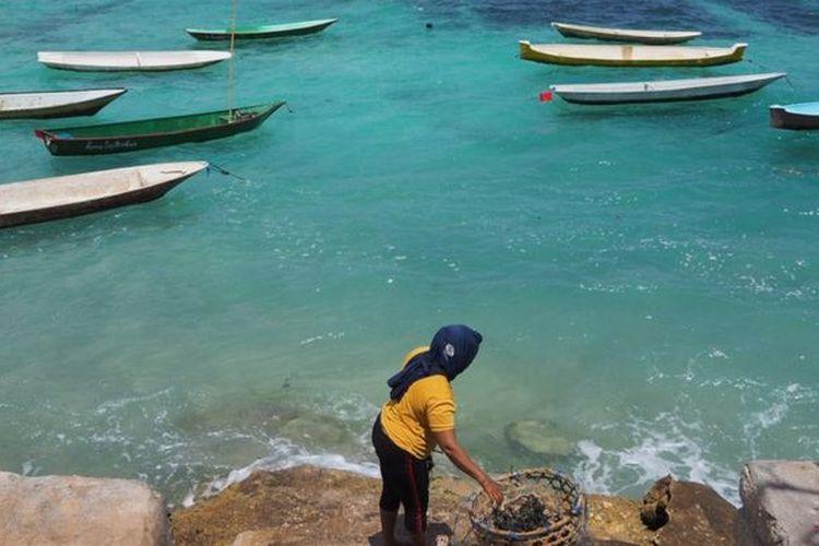 Seorang warga Nusa Lembongan bersiap turun ke laut untuk membudidayakan rumput laut.