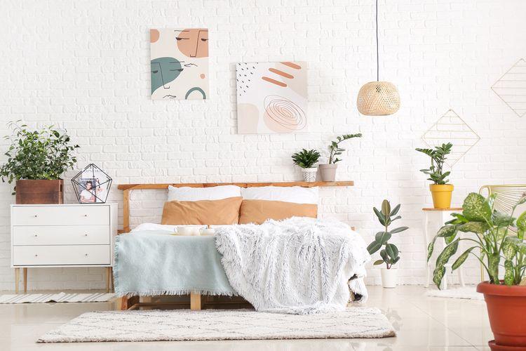 Ilustrasi tanaman hias di kamar tidur.