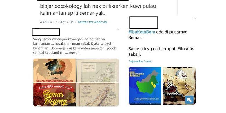 Tangkapan layar sejumlah unggahan warganet soal Semar dan peta Kalimantan serta kaitannya dengan filosofi Jawa.