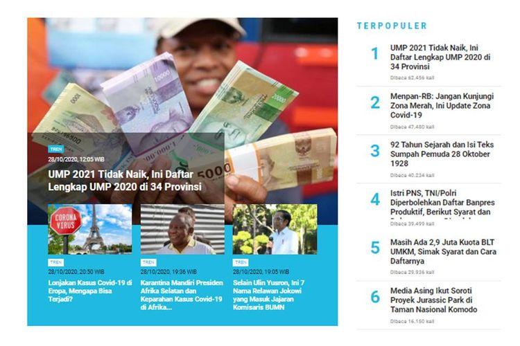 Berita populer Tren 29 Oktober 2020: Daftar UMP 2020 di 34 provinsi | Update zona Covid-10 di Indonesia.