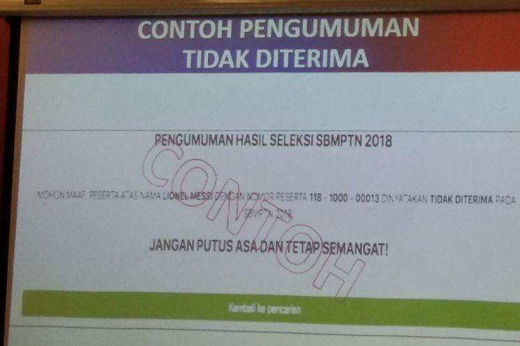 Ilustrasi. Contoh pengumuman tidak terima hasil seleksi SBMPTN 2018