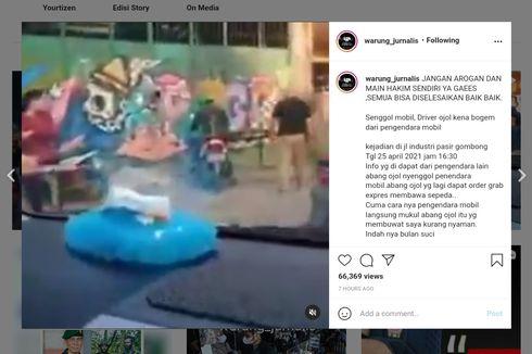 Insiden Ojol Angkut Paket Sepeda Senggol Mobil