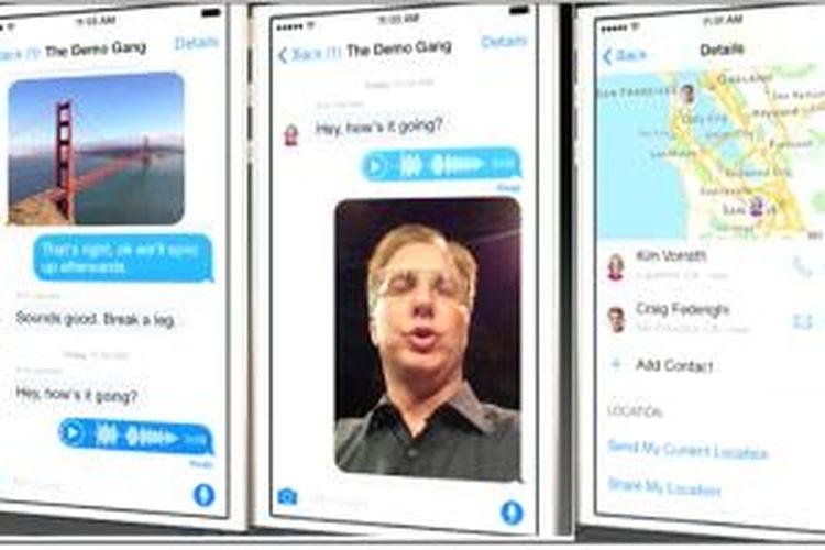 Aplikasi Messages di iOS 8 kini dilenkpi dengan fitur berbagi foto, suara, video, dan lokasi