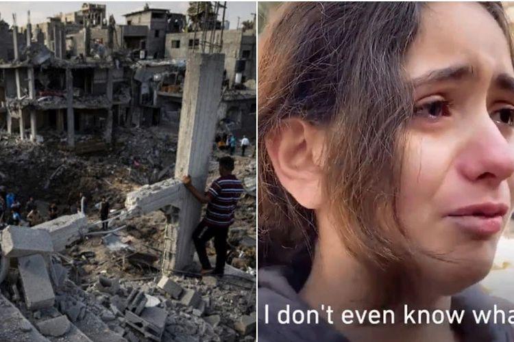 Nadine Abdel-Taif menangis saat melihat rumahnya yang hancur terkena serangan udara Israel di Gaza.