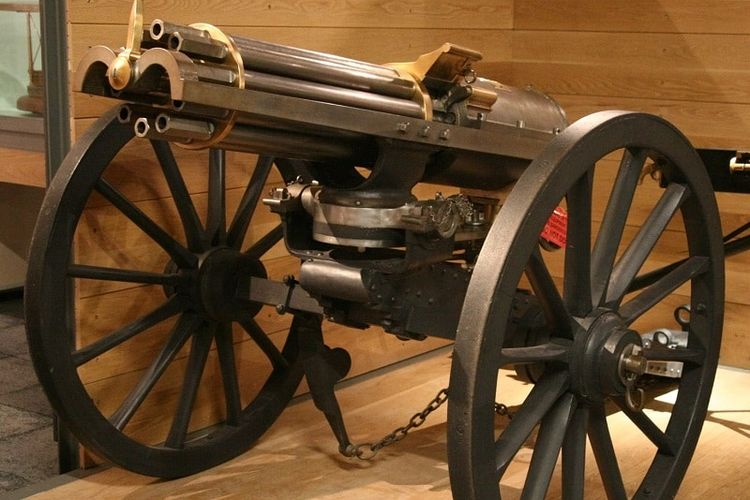 Senjata gatling yang dibuat di Amerika Serikat pada 1862. [Wikimedia Commons Via Oldest.org]