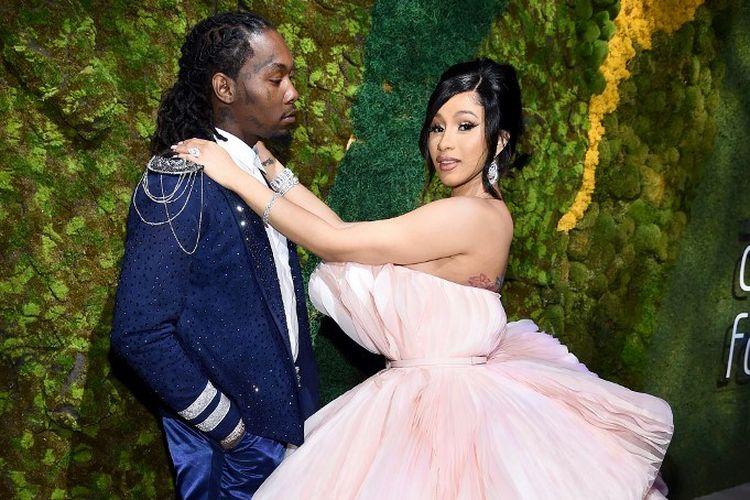 Pasangan Offset (kiri) dan Cardi B menghadiri Annual Diamond Ball Benefitting The Clara Lionel Foundation yang digelar Rihanna di Cipriani Wall Street, New York City, pada 12 September 2019.