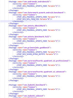 Kode di dalam file yang memicu sports mode.