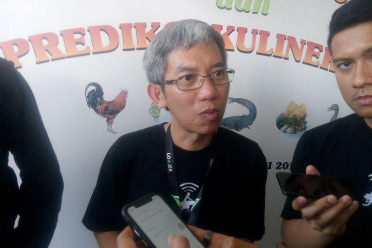VP Marketing Go-Food, Aristo Kristandyo memberi keterangan kepada awal media tentang capaian Go-Food selama 2018 di Kantor Go-Jek, Pasaraya Blok M, Jakarta, Senin (7/1/2019).