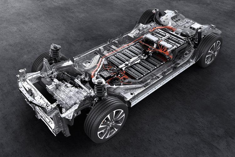 Sasis, baterai, motor listrik pada mobil listrik murni (BEV) Toyota, Lexus UX 300e.