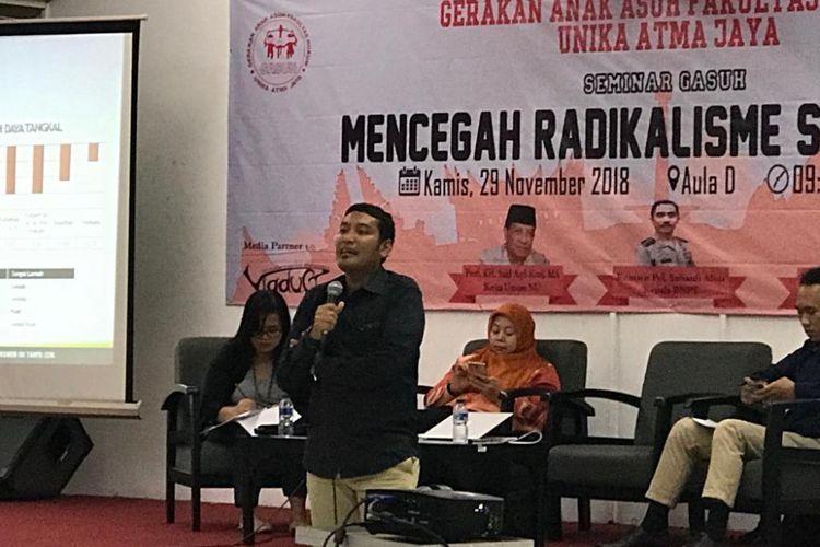 Analis pada Deputi Bidang Pencegahan, Perlindungan dan Deradikalisasi BNPT Teuku Fauzansyah di Universitas Atma Jaya, Jakarta Pusat, Kamis (29/11/2018).