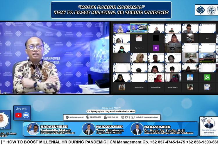 Sekretaris Jenderal Kemnaker Anwar Sanusi mengatakan, masa pandemi Covid-19 merupakan momentum penting bagi semua pihak, seperti institusi pendidikan, generasi milenial, dan pelaku usaha untuk bangkit dan terus berkarya.