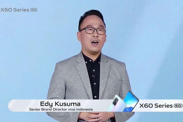 Edy Kusuma, Senior Brand Director Vivo Indonesia, dalam acara peluncuran Vivo X60 Series yag digelar secara online, Kamis (8/4/2021).