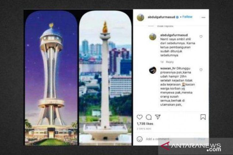 Gambar bentuk Tower Penajam disandingkan dengan Tugu Monas yang diunggah Bupati Penajam Paser Utara Abdul Gafur Mas'ud di Instagram.
