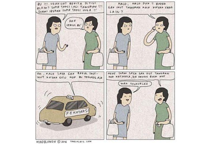 Demo sopir taksi tersebut dibuat candaan melalui dialog dalam komik Instagam karya @tahilalats