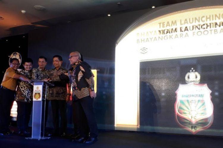 Suasana launching tim Bhayangkara FC di Hotel Borobudur, Gambir, Jakarta Pusat, Jumat (23/2/2018).