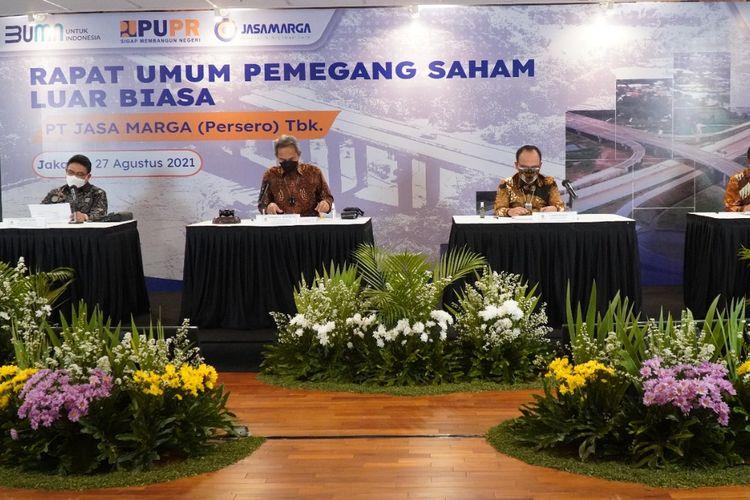 Rapat Umum Pemegang Saham Luar Biasa (RUPSLB) PT Jasa Marga (Persero) Tbk, Jumat (27/08/2021).