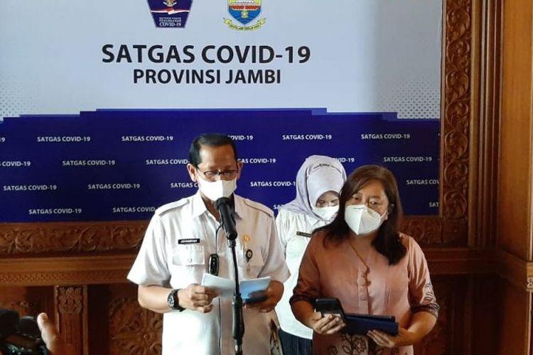 Satgas Covid-19 Jambi mengumumkan penemuan kasus Covid-19 varian delta dan delta plus di Jambi pada  Rabu (28/7/2021).