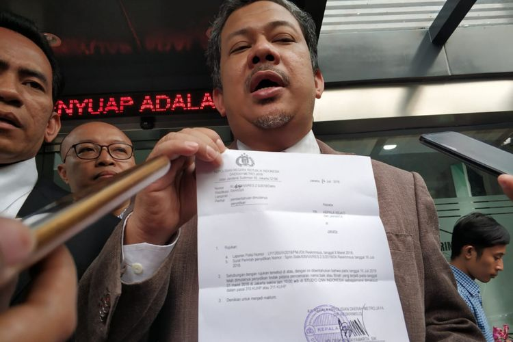 Wakil Ketua DPR Fahri Hamzah jalani penyelidikan di Polda Metro Jaya, Selasa (17/8/2018)