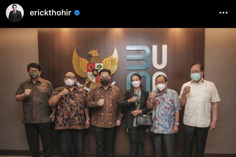 Tangkapan layar dari akun instagram Menteri BUMN Erick Thohir.