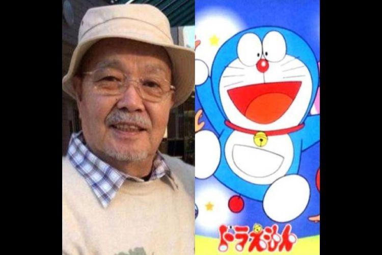 Tomita Kosei dan karakter kartun Doraemon.