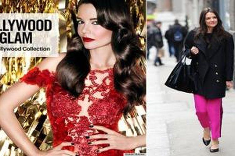 Katie Holmes tampak lebih segar dengan riasan dramatis dan lipstck merah menyala pada kampanye iklan kosmetik Bobbi Brown, dan saat sedang menikmati New York dalam keseharian.