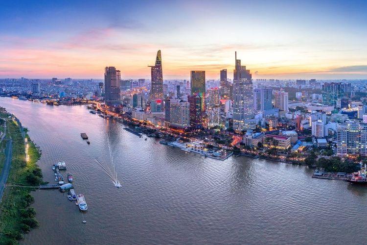 Tampak pemandangan Kota Ho Chi Minh, Vietnam.