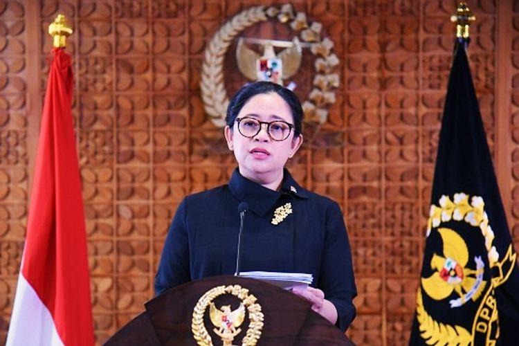 Ketua DPR RI, Puan Maharani meminta DPR untuk tetap produktif di masa pandemi dalam pidatonya di di Gedung Nusantara II, Senanyan, Jakarta pada Senin (8/3/2021)